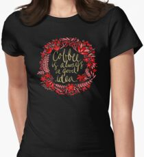 Coffee on Charcoal Women's Fitted T-Shirt