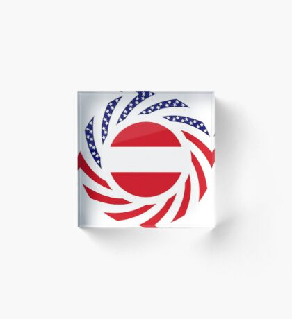 Austrian American Multinational Patriot Flag Series Acrylic Block