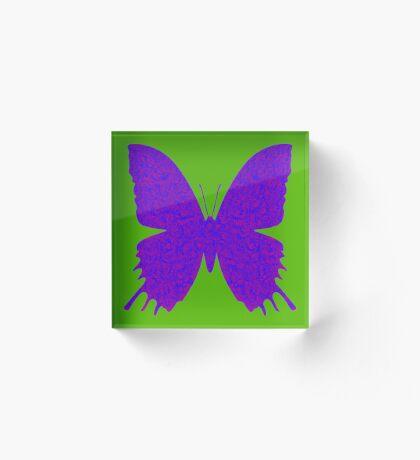#DeepDream Purple Violet Butterfly Acrylic Block