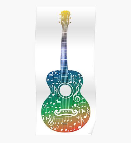 Gitarre und Musiknoten 6 Poster