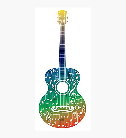 Gitarre und Musiknoten 6 Fotodruck