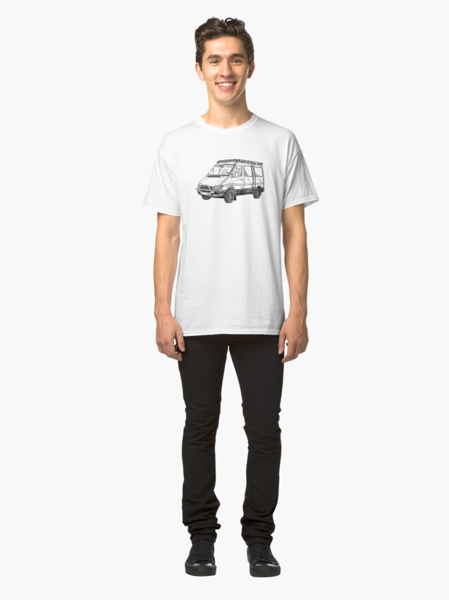 Vista alternativa de Camiseta clásica Sprinter van bosquejo en ángulo