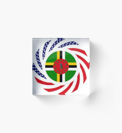 Dominica American Multinational Patriot Flag Series Acrylic Block