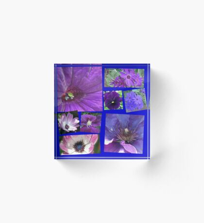 Pink and Purple Passion Floral Collage Acrylblock