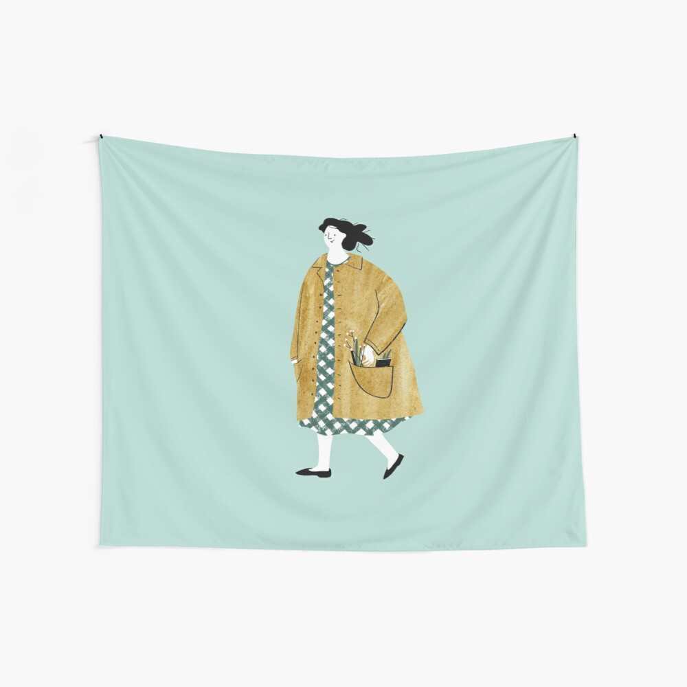 Girl walking with flowers in her pocket Wall Tapestry