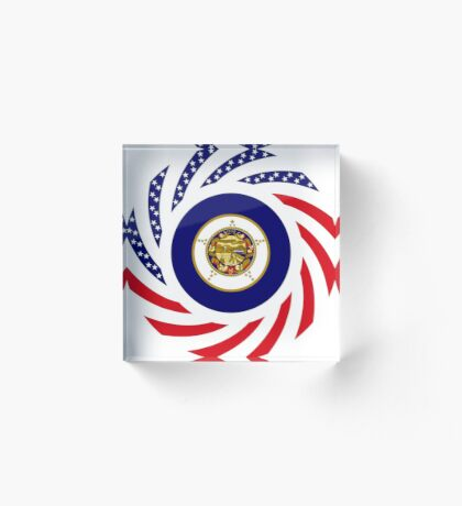 Minnesota Murican Patriot Flag Series Acrylic Block