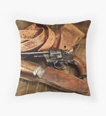 Revolver, Hunting Knife and Leather Throw Pillow