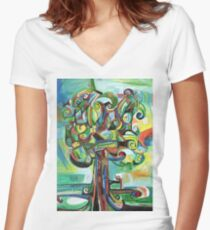 Lyrical Tree Women's Fitted V-Neck T-Shirt