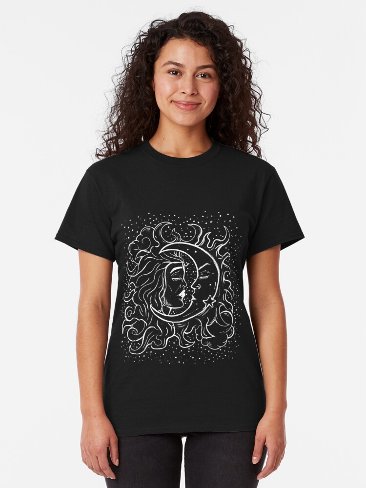 Alternate view of Sun & Moon Gothic Witchy Hand Drawn Design Classic T-Shirt