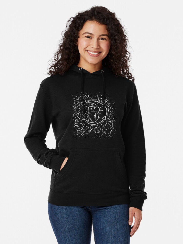 Alternate view of Sun & Moon Gothic Witchy Hand Drawn Design Lightweight Hoodie