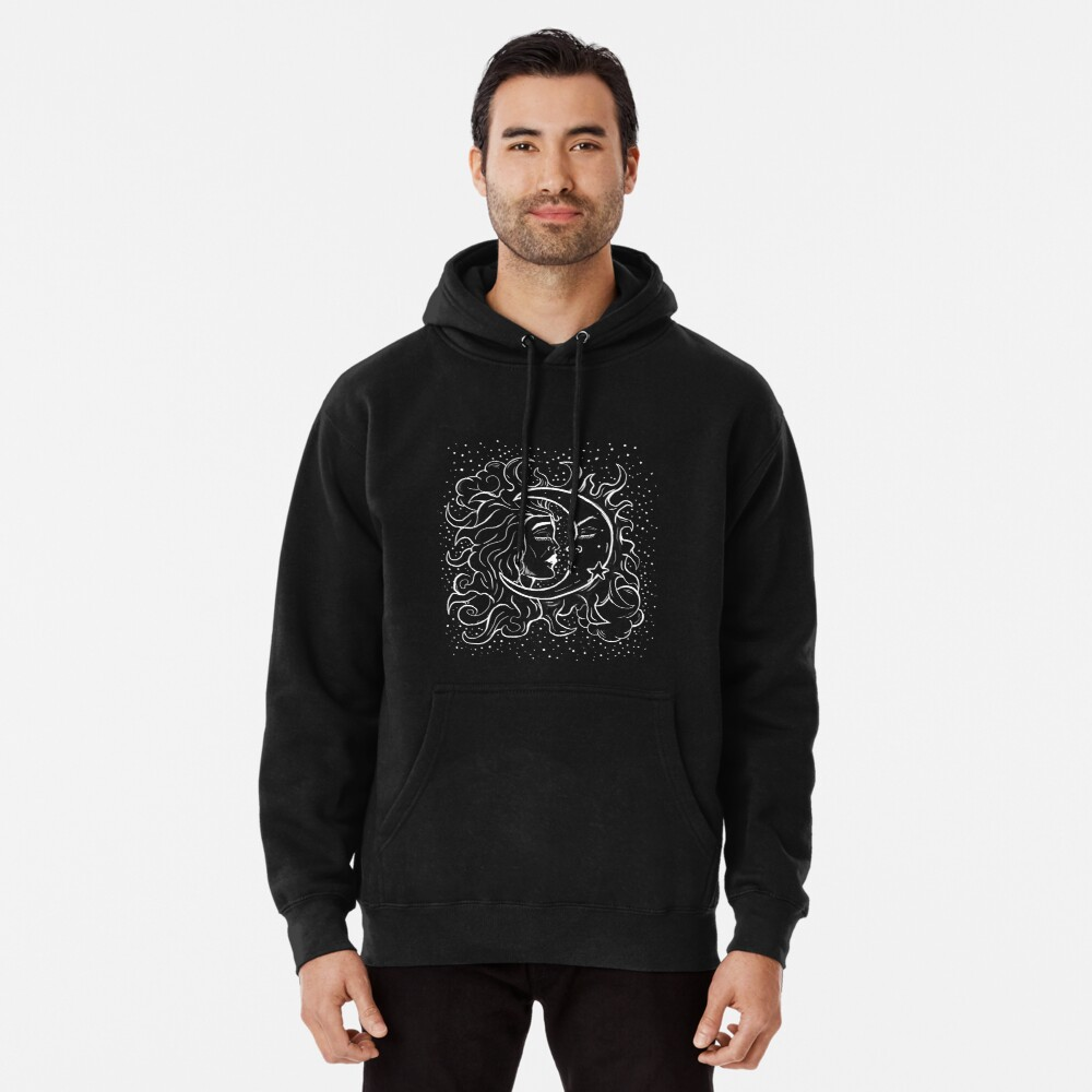 Sun & Moon Gothic Witchy Hand Drawn Design Pullover Hoodie