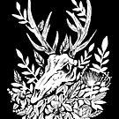 Deer Skull Gothic Foliage Plants Witchy Memento Mori Black & White Illustration by lunaelizabeth