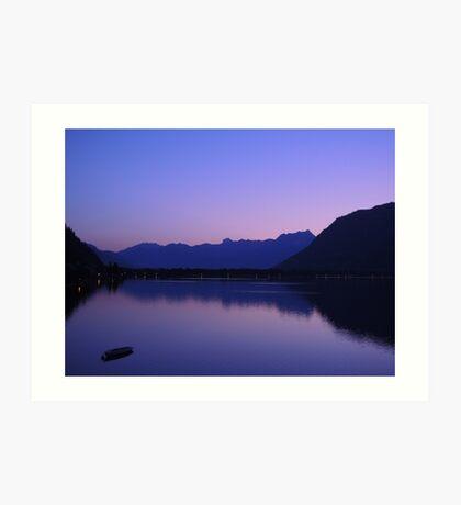Zell Am See: Lone boat at Dusk Art Print