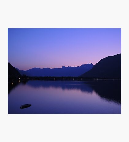 Zell Am See: Lone boat at Dusk Photographic Print