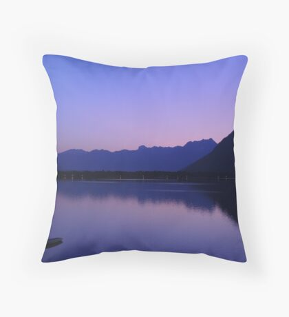 Zell Am See: Lone boat at Dusk Throw Pillow
