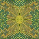 Oak King, bohemian pattern in yellow and green by clipsocallipso