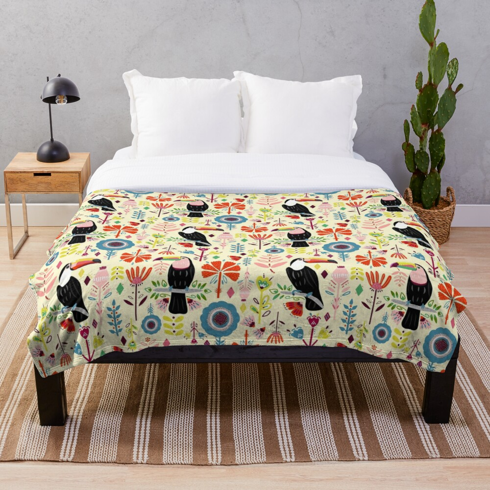 Colorful Toucans On Cream Throw Blanket