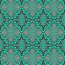 Sliced Pomegranat, organic forms, bohemian pattern, mint and grey by clipsocallipso