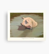 Happy Pig Wallowing in Mud Canvas Print