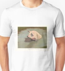 Happy Pig Wallowing in Mud Unisex T-Shirt