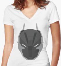 Arkham Knight Mask Women's Fitted V-Neck T-Shirt