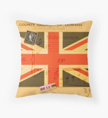 British Flag on Letter from 1950's with Music Notes and Stamps Throw Pillow