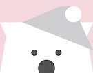 Peek-a-Boo Bear with Hat, Soft Pink and Gray by Kendra Shedenhelm
