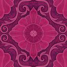 Ruby flowers, Floral Arabesque Damask Pattern by clipsocallipso