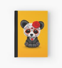 Red Day of the Dead Sugar Skull Panda on Yellow Hardcover Journal