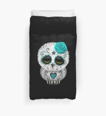 Cute Teal Blue Day of the Dead Sugar Skull Owl Duvet Cover