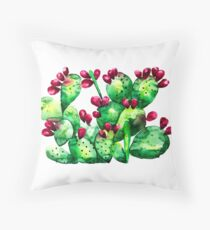 Prickly, Prickly Pear Cactus Throw Pillow