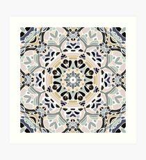 Floral Multicolored Mandala with Light Linen Texture Art Print