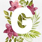 Letter G in watercolor flowers and leaves. Floral monogram. by helga-wigandt