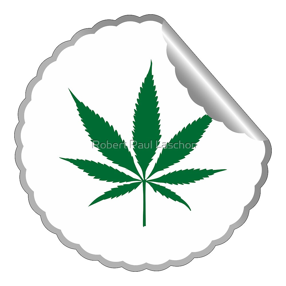 Cannabis leaf label by Laschon Robert Paul