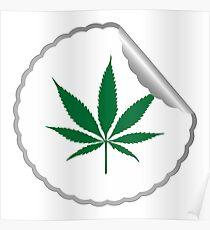 Cannabis leaf label Poster