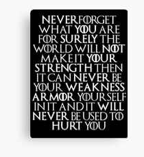 Never Forget Who You Are - Tyrion Lannister Quote Canvas Print