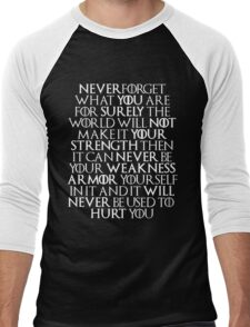 Never Forget Who You Are - Tyrion Lannister Quote Men's Baseball ¾ T-Shirt