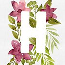 Letter H in watercolor flowers and leaves. Floral monogram. by helga-wigandt