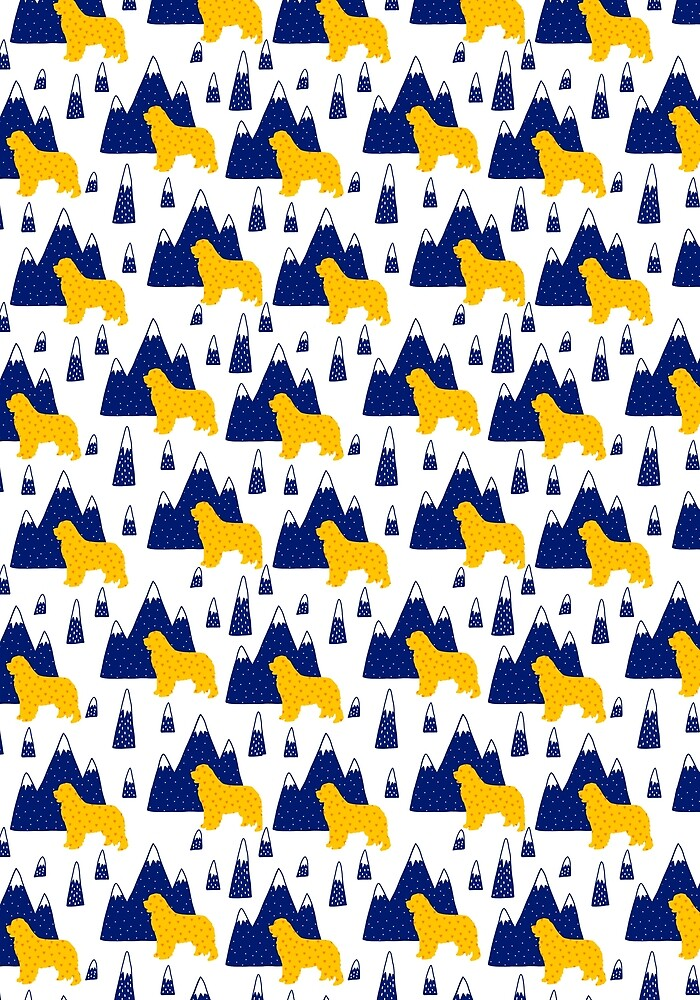 Blue and Yellow Newfie Pattern by Christine Mullis