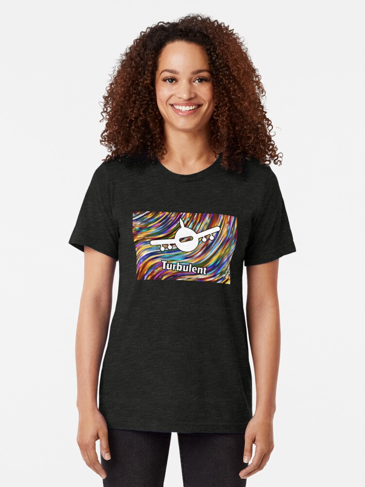 Alternate view of Turbulent Airplane Streaming Lines Color Tri-blend T-Shirt