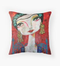 Frida and her blue chair Throw Pillow