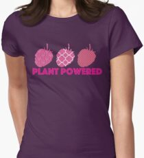 'Plant Powered' Vegan raspberry design Womens Fitted T-Shirt
