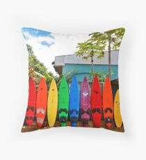 Rainbow Surf Fence Paia Throw Pillow
