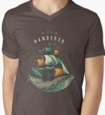 Whale   Petrol Grey Men's V-Neck T-Shirt