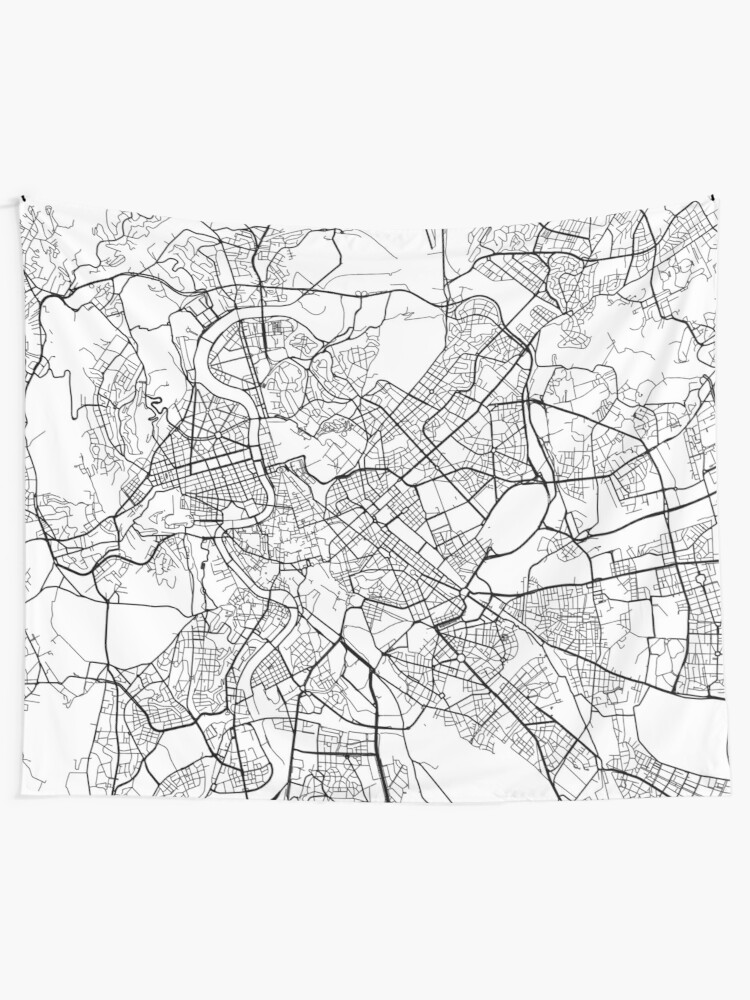 Black And White Map Of Italy.Rome Map Italy Black And White Wall Tapestry