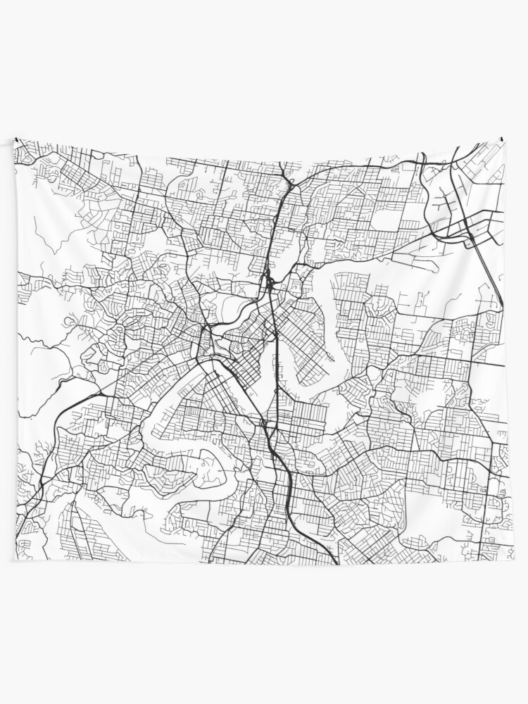 Brisbane Map Australia.Brisbane Map Australia Black And White Wall Tapestry By