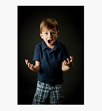 Young boy screaming with emotion Photographic Print