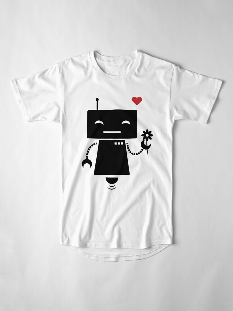 Alternate view of Robot With Flower Long T-Shirt