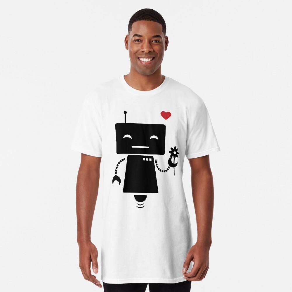 Robot With Flower Long T-Shirt