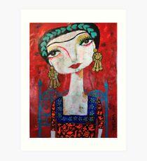 Frida und ihr blauer Stuhl Kunstdruck